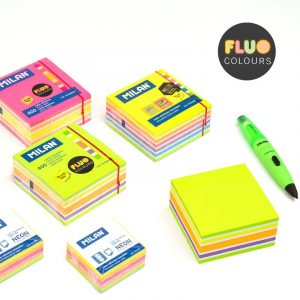 BLOC 400 NOTES ADHESIVES COLORS FLUO 76X76 MM